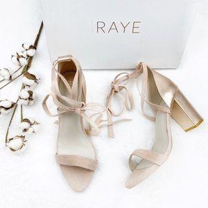 NIB RAYE x Revolve | Layla Rose Gold Lace Sandals
